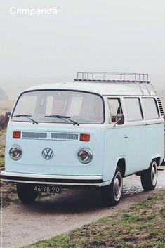 A Camping Dream in Pale Blue. #camping #vannin #vanlife #vanlove #vw #bulli… Volkswagen Transporter, Vw Bus T2, Volkswagen Type 2, Vw T1, Vw Camper, Volkswagen Jetta, Vw Kombi Van, Hippie Car, Vw Classic