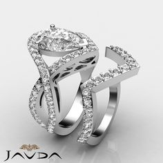 Pear Cut Bridal Set Diamond Cross Shank Engagement Ring GIA I VS2 Platinum 2.4ct