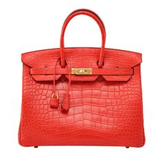 HERMES BIRKIN 35 Bag Matte GERANIUM gold hardware | From a collection of rare vintage handbags and purses at https://www.1stdibs.com/fashion/accessories/handbags-purses/