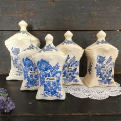 Vintage Dutch Porcelain Canisters from Delft, Holland