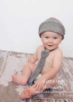 chappy newsboy hat with matching tie and by ShandaLeighDesign, $44.00