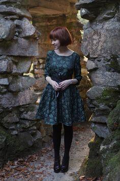 green brocade dress via The Clothes Horse