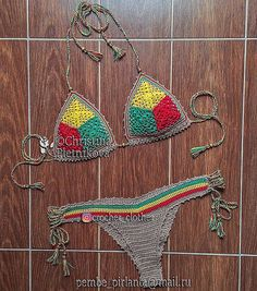 Rasta crochet bikini set Brazilian scrunch bottoms swimsuit Jamaica Cuba sexy gipsy boho swimwear / IN STOCK ♥❤ HOT!!!🔥🔥🔥 Without padding or lining(dense in stiches)! Care instructions: hand wash in cool water with gently detergent and lay flat to dry, when it dries lightly steam