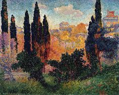 Henri Edmond Cross, Cypresses at Cagnes, 1908, Oil on canvas, 81 x 100 cm, Musée d'Orsay, Paris | Flickr - Photo Sharing!