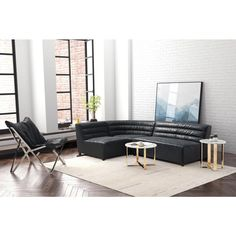 Soho Black Leatherette Corner Chair