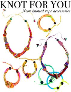 Neon knotted rope accesories with stackable bracelets