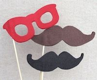 Glasses & Mustaches (made w/felt glued on cardboard & wood)