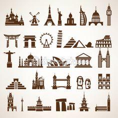 Conjunto grande de mundo monumentos y edificios históricos vector g — Vector de stock #69051775