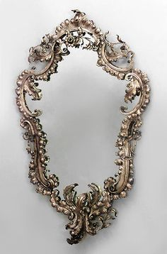 French Victorian Bronze Dore Shaped Wall Mirror Scroll And Floral Design  c.19th Century