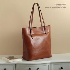 Handmade Genuine Leather Women's Fashion Tote Handbag Shoulder Bag in Brown 14149 Leather Purses, Leather Handbags, Men's Leather, Leather Clutch, Large Canvas Tote Bags, Cheap Handbags Online, Bags Online Shopping, Crazy Horse, Casual Bags