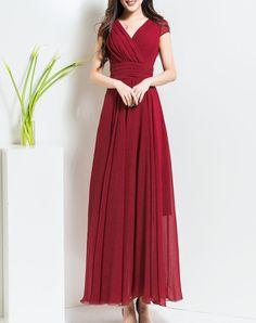 Dreamy Chiffon Boho Folds A-line Short Sleeve Maxi Dress I found this beautiful item on VIPme.com.Check it out!