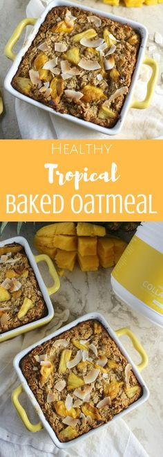 Want to feel like you're on an island while eating breakfast? Try this Healthy Tropical Baked Oatmeal! It's low in sugar, simple to prepare and SO yummy! This recipe is sponsored by my friends at Vital Proteins. Best Breakfast, Healthy Breakfast Recipes, Brunch Recipes, Healthy Recipes, Breakfast Ideas, Healthy Breakfasts, Delicious Recipes, Power Breakfast, Brunch Ideas