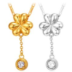 Cute-Flower-Pendant-Necklaces-Cubic-Zirconia-18K-Gold-Platinum-Plated-Jewelry