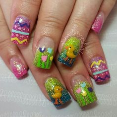 Chic Easter Acrylic Nail Art Designs to Copy - Fashion Nail Art Designs, Easter Nail Designs, Easter Nail Art, Acrylic Nail Designs, Nail Art Halloween, Holiday Nail Art, Christmas Nail Art, Cute Nails, My Nails