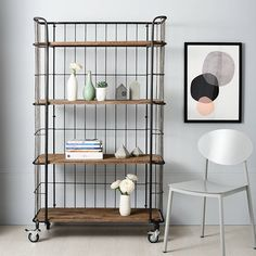 Trolley Storage With 4 Shelves. This trolley shelf and storage is a breath of fresh air. Its industrial feel and appearance make it edgy and appealing, whilst i Metal Storage Shelves, Hallway Storage, Wooden Shelves, Storage Trolley, Trolley Cart, Bedroom Storage, Industrial Trolley, Industrial Shelving Units, Teen Style