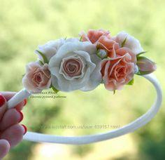 Венки, ободки, обручи, заколки, кольца с цветами