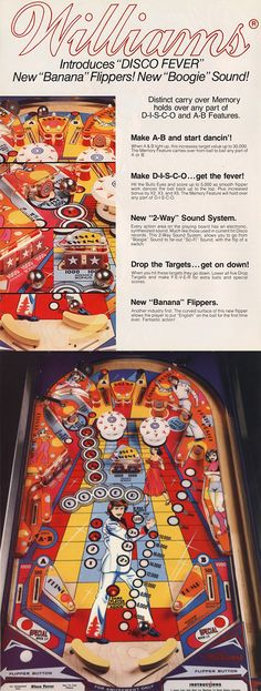 Williams' Disco Fever pinball was released in 1978. Now! This pinnie was the absolute BOMB when it arrived at the local milk bar - Minnogues greasy fish n chips in Queensland, Australia. The banana flippers and many great features that enabled huge scores and loads of free games for the ace players amongst us.