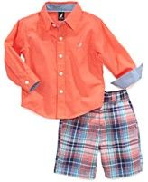 Nautica Baby Boys\' 2-Piece Woven Shirt & Shorts Set