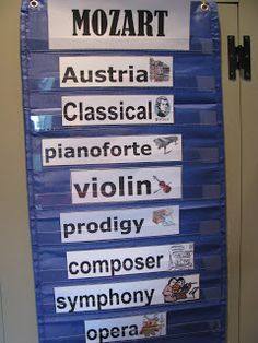 Notable Music Studio: Mozart - Child Prodigy-like the pocket chart Music Lessons For Kids, Singing Lessons, Piano Lessons, Kids Music, Music Word Walls, Music Bulletin Boards, Music Classroom, Classroom Ideas, Classroom Organization