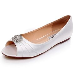 54428e9721f satin ivory satin shoes wedding crystal bridal shoes Wedding Shoes Flats  Unique Design Flat Wedding Shoes · Peep Toe Wedding ShoesBling ...