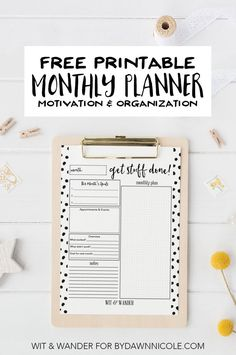 Get Stuff Done Monthly Planner - Wit & Wander for By Dawn Nicole