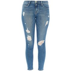 Frame Denim Blue Le Skinny de Jeanne Distressed Mid-Rise Skinny Jeans found on Polyvore