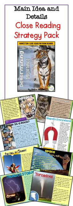 Main idea and details close reading strategy pack. Nonfiction science content for 1st to 3rd grade.