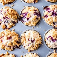 The best homemade blueberry muffins recipe. They're moist, delicately flavored with lavender and covered with an easy crumble topping. make them extra special for a decadent brunch - it is so simple to make a scrumptious treat from scratch! Blueberry Crumb Muffins, Homemade Blueberry Muffins, Blue Berry Muffins, Muffin Recipes, Brunch Recipes, Baking Recipes, Breakfast Recipes, Breakfast Bites, Good Food