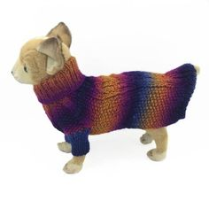 XXS knit Dog Coat Cable design Extra Small pet clothing
