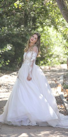 erin cole fall 2017 bridal long sleeves plunging neckline lace applique bodice ball gown wedding dress (ava) mv illusion back train romantic princess