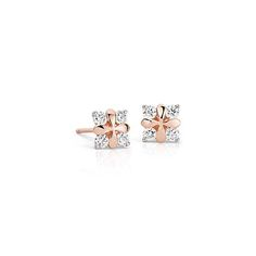 Blue Nile Studio Rose Petal Diamond Stud Earring in 18k Rose Gold #BlueNile #Fashion #Design