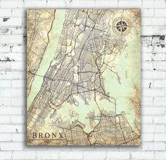 BRONX NY Canvas Print Bronx City NY New York Bronx Vintage map Wall Art poster map Vintage retro old antique Bronx City Ny map United States