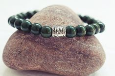 Dark Green Beaded Bracelet | Wood Bead Bracelet | Mens Elastic Bracelet  Simple Mens Bracelet