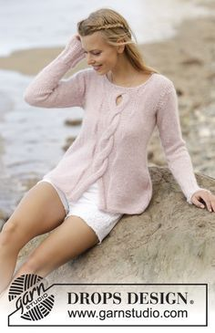 Rose Twist jumper with cable, worked top down by DROPS Design Free Knitting Pattern