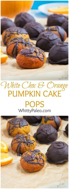 Paleo pumpkin cake pops infused with paleo white chocolate and orange and covered in a dark chocolate. A delicious fall treat. 13 Desserts, Healthy Dessert Recipes, Delicious Desserts, Yummy Food, Snacks Recipes, Pumpkin Recipes, Fall Recipes, Sweet Recipes, Pumpkin Cake Pops