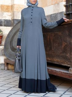 Zaada Abaya - Abayas - Women Niqab Fashion, Blue Fashion, Modest Fashion, Fashion Dresses, Gaun Dress, Modele Hijab, Mode Abaya, Muslim Women Fashion, Abaya Designs