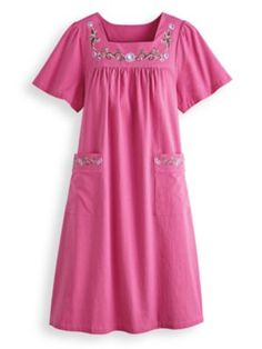 Be dressed & stylish in seconds with our cotton patio dress. This square neckline dress has floral embroidery, patch pockets, & woven crinkle cotton for softness. Stylish Dresses, Casual Dresses, Ladies Dresses, African Fashion Dresses, Fashion Outfits, Night Gown Dress, Square Neckline Dress, Rajputi Dress, Night Dress For Women