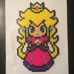 Princess Peach perler beads by tracyantele