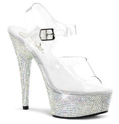 Pleaser Shoes Bejeweled-608DM Platform Sandals Exotic and sparkling, these sandals will catch his eyes and take his heart away! The top part features a single clear strap in toe area and a matching ankle strap with adjustable length and metallic b http://www.MightGet.com/january-2017-12/pleaser-shoes-bejeweled-608dm-platform-sandals.asp
