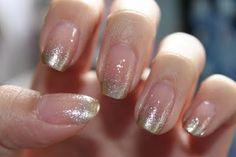 Clear Polish w/Glittery Silver Fade French Tips