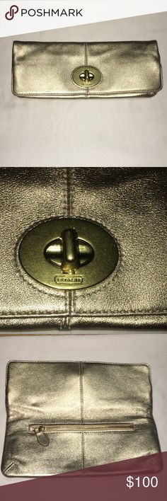 """N W T • Coach 🐎 Madison Foldover The perfect evening clutch in gold  Classically designed and meticulously crafted, Coach has set an iconic standard for American luxury since 1941.  Size Width 10.5"""" Height 4.25"""" Depth 1.0""""  Product Details Type of Material: Leather Color: Gold Hardware: Gold Closure: Turnlock  NWT Coach Bags Clutches & Wristlets"""