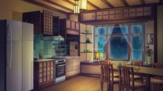 """Background for visual novel """"Miracle Fair"""" Kitchen at night Game Background Art, Kitchen Background, Scenery Background, Living Room Background, Background Drawing, Cartoon Background, Animation Background, Anime Backgrounds Wallpapers, Anime Scenery Wallpaper"""