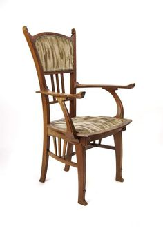 Gustave Serrurier-Bovy (1858-1910) - Arm Chair. Mahogany with Upholstered Seat and Back. Circa 1898.