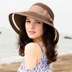 Elegance bow straw hat for women leisure travel UV sun hats