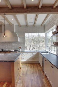 Corner Window Featured In Contemporary Kitchen Kitchen Furniture, Kitchen Interior, Kitchen Design, Kitchen Decor, Sunroom Kitchen, Cheap Furniture, Kitchen Hacks, Updated Kitchen, New Kitchen