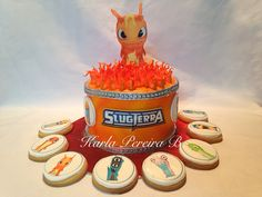 Slug terra cake and cookies with wafer paper