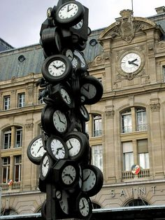 "Eep wants to run up this clock next! Gare Saint-Lazare, Paris, France, photo by ""annemmu"" of clock sculpture ""L'Heure de Tous"" (Everybody's Time) by Arman (Armand Pierre Fernandez Paris Travel, France Travel, Paris France, France Europe, The Places Youll Go, Places To Go, I Love Paris, City Lights, Historical Sites"
