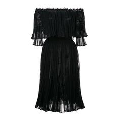 ALEXANDER McQUEEN Off the Shoulder Knitted Lace Dress (€2.380) ❤ liked on Polyvore featuring dresses, vestidos, black, off-the-shoulder lace dresses, ruffle hem dress, off shoulder dress, flounce hem dress and alexander mcqueen cocktail dress