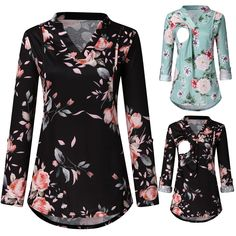 Women Maternity Plus Tunic Long Sleeve Tops V Neck Floral Nursing Blouse T Shirt Maternity Tunic, Casual Maternity, Clothes For Pregnant Women, Nursing Tops, Pregnancy Shirts, Shirt Blouses, Long Sleeve Tops, Autumn Fashion, Womens Fashion