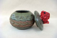 Pottery - Lidded Red Fish Bowl - 1209. Cute